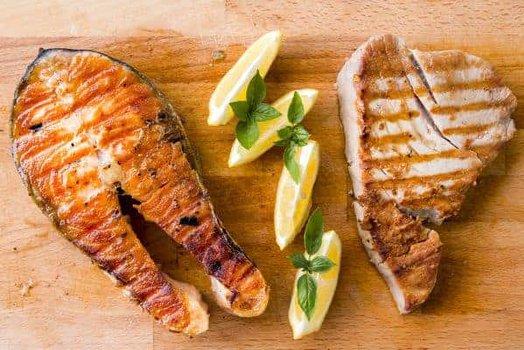 pescado y carne a la plancha