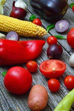 pimiento, tomate, maíz