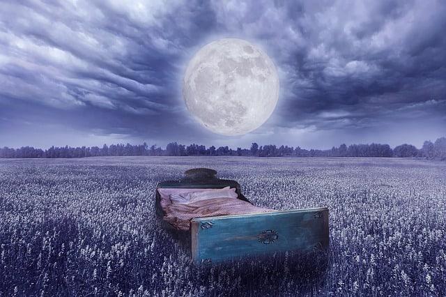 realidad de los sueños: una cama en un prado, una luna llena