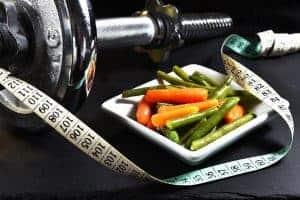 medida, verduras, mancuernas