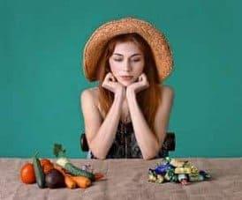 la elección entre postres y verduras